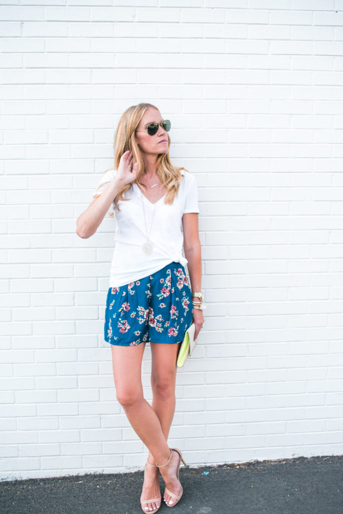Floral Shorts + Knot Tee