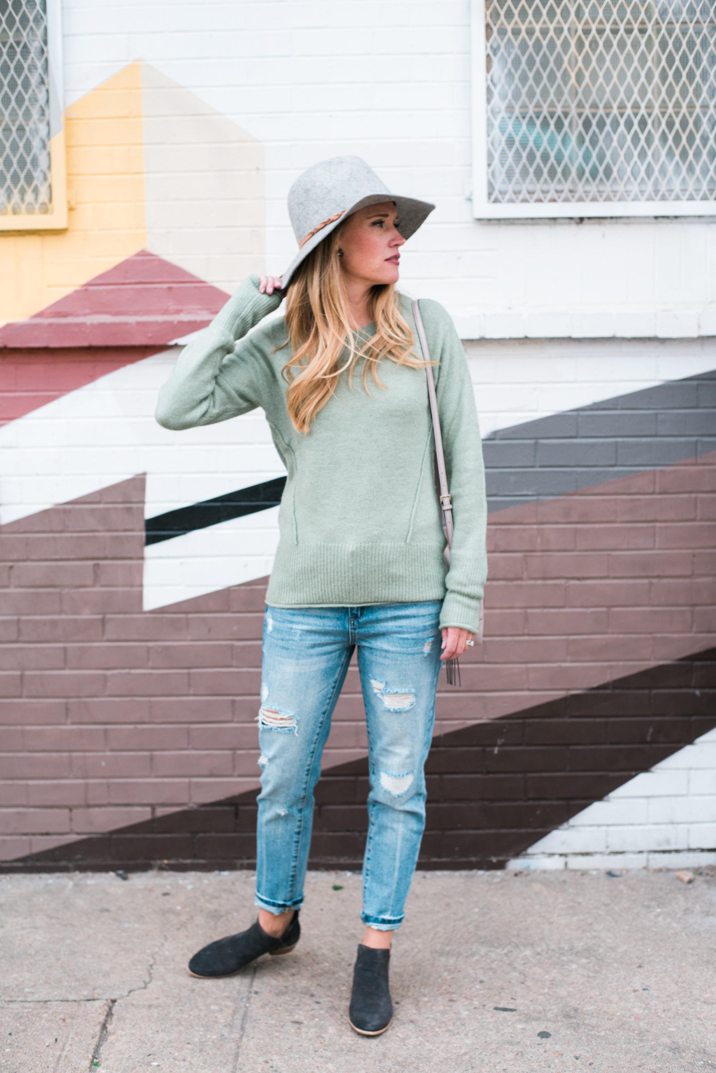 Distressed Denim + Casual Sweater